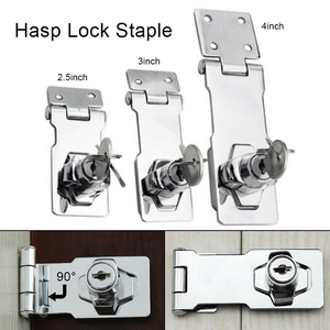 50/75/100mm Lock Cylinder Hasp Copper Core Self Locking Security Staple for Shed Cupboard Drawer Door Locker