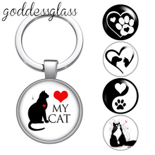 Love my cat Lovely cats dog cute Pet footprints glass cabochon keychain Bag Car key chain Ring Holder Charms keychains for Gifts