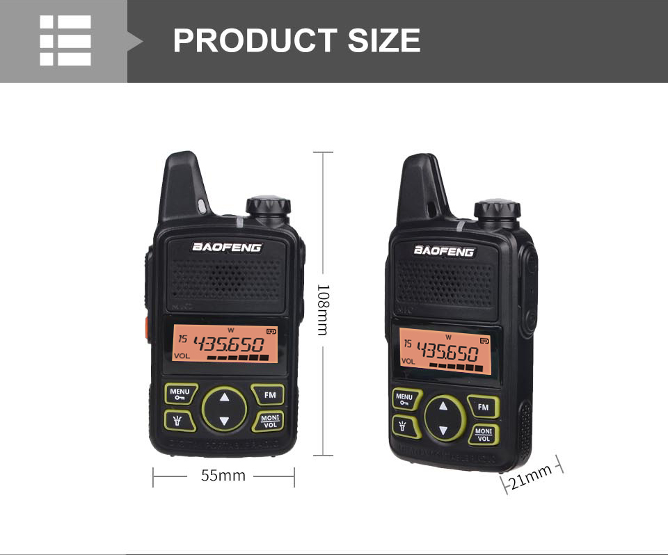 3PCS BAOFENG T1 MINI Two Way Radio BF-T1 Walkie Talkie UHF 400-470mhz 20CH Portable Ham FM CB Radio Handheld Transceiver