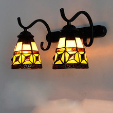 Vintage Tiffany Wall Lamps Mediterranean Stained Glass Mirror Light Sconces for Living Room Bedroom Lighting Fixtures Home Decor