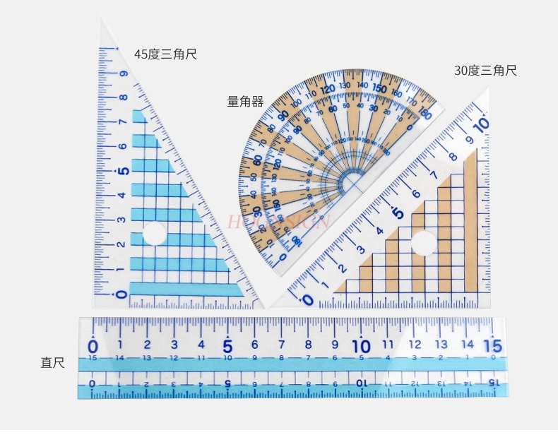 4pcs Student Test Is Not Easy To Break The Ruler 4-piece Set Of Triangle Plate + Protractor + Ruler Test