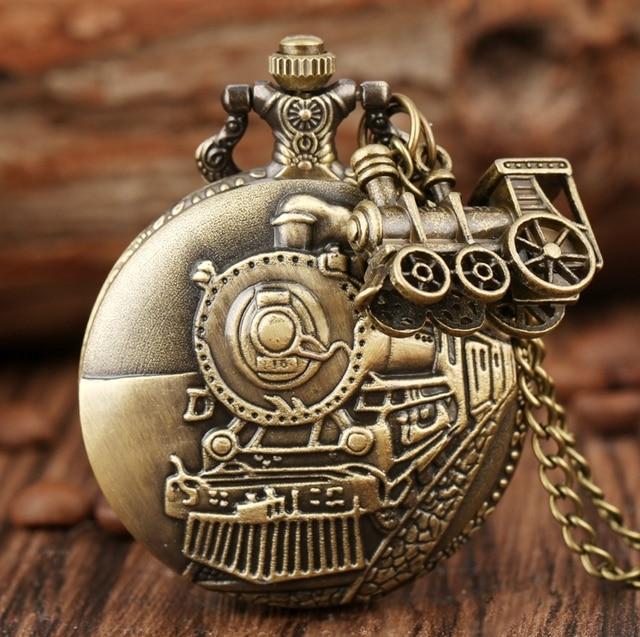 Bronze Train Locomotive Engine Quartz Pocket Watch Retro Necklace Pendant Chain Best Gifts for Men Women with Train Accessory