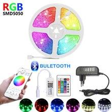 1M 2M 3M 4M 5M 10M 15M 12V tira CONDUZIDA luz RGB luces led tiras luzes 5050 SMD fita Flexível à prova d' água Lâmpada de controle Do Bluetooth