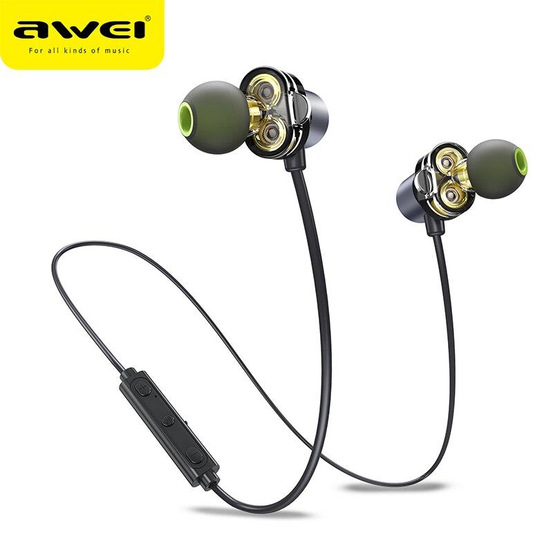 AWEI X650BL Dual Driver Wireless Bluetooth HiFi Earphone In ear Earbuds HD Deep Bass Sound Fone de ouvido Bluetooth With Mic Phone Earphones & Headphones     - AliExpress