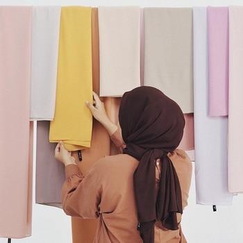 Malaysian Pearl Chiffon Long Scarf Plain Solid Color Muslim Women Hijab Headscarf Summer Islamic Long Shawl 50 Colors 175x70cm summer square scarf turkish muslim hijab pearl chiffon islamic headscarf women plain shawl with colorful rhinestone 105x105cm