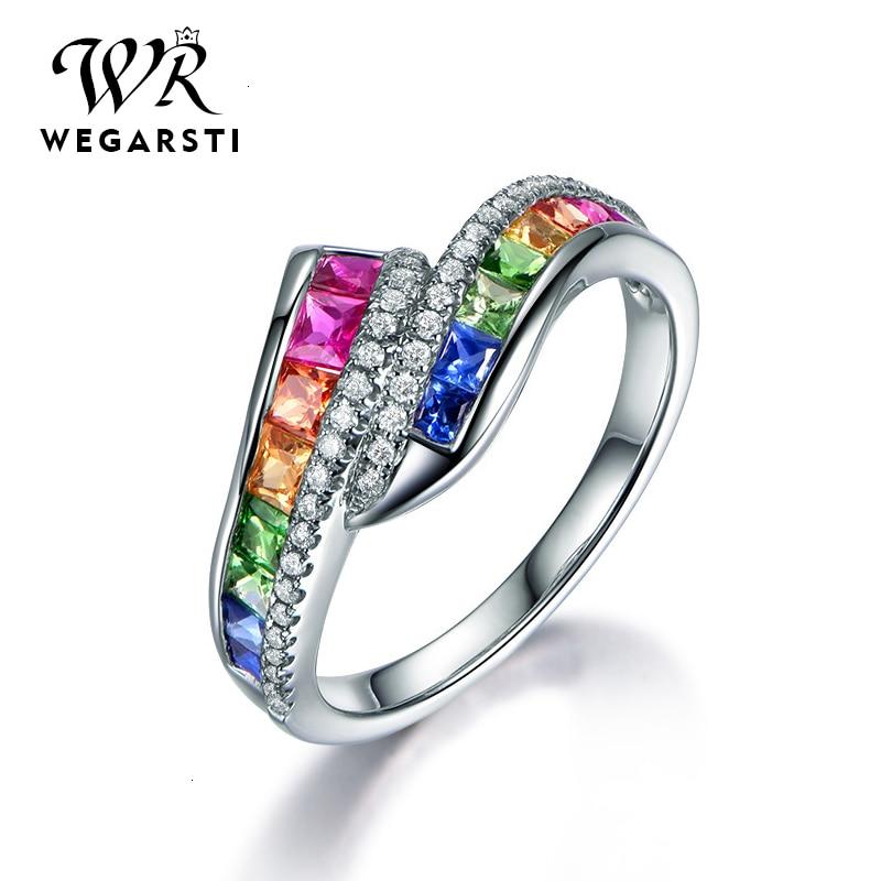WEGARASTI Silver 925 Jewelry Ring Trendy Luxury Gemstone Women Ring 925 Sterling Silver Rings Jewellery Weddings Party Gifts