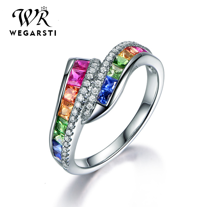 WEGARASTI Silver 925 Jewelry Ring Trendy Luxury Gemstone Women Ring 925 Sterling Silver Rings Jewellery Weddings Party Gifts
