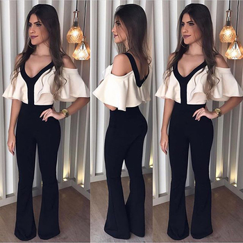 Summer Deep V-Neck Slim Jumpsuit Elegant Ladies Backless Jumpsuit Overalls Fashion Off Shoulder Ruffle Jumpsuit Women Rompers фото
