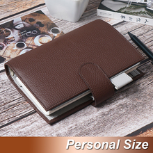 Genuine Leather Notebook Organiser Rings Binder Planner Cover Personal Size Diary Journal Sketchbook Agenda Buy 1 get 9 gifts ppyy new personal pocket organiser planner filofax diary notebook pu leather cover