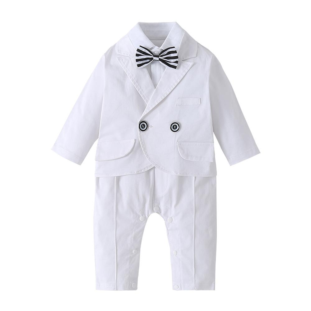 Newborn Baby Boy Wedding Formal Suit Bowtie Gentleman Romper Tuxedo Outfit Set