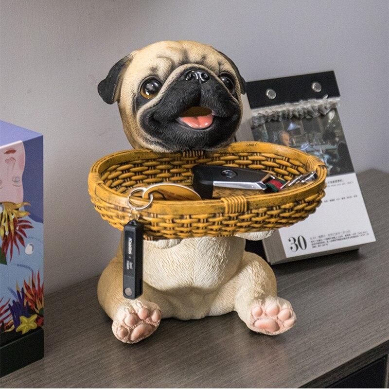 Nordique carlin bouledogue français Statue de chien télécommande boîte de rangement résine Shiba Inu Sculpture accessoires de décoration de la maison R2522