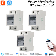 3 Pcs Alexa Compatible Tuya Power Meter WiFi Consumption Switch Energy Monitoring 110V/220V Din Rail Remote Control