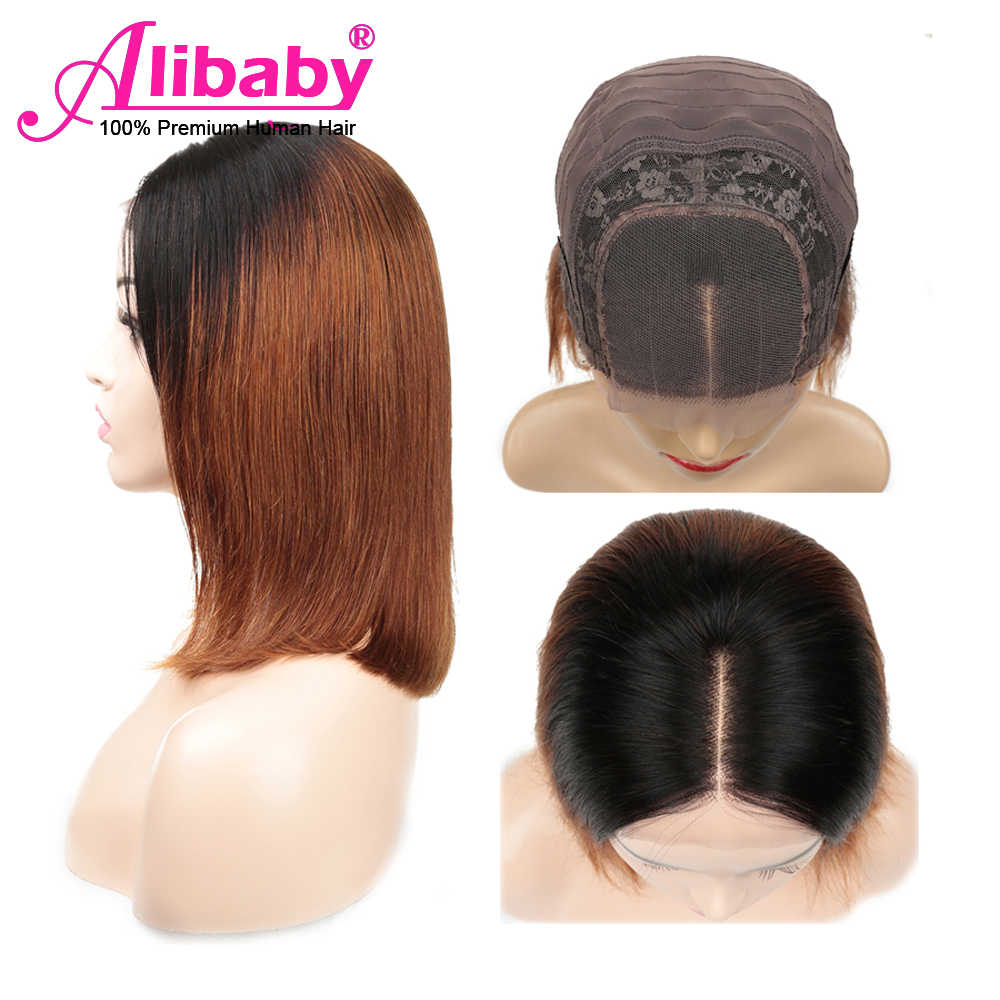 Alibaby Straight Human Hair Wigs Ombre Short Bob 1B 30 Brown Closure Wig 10-14 Inch 4x4 Lace Closure Wig Pixie Cut Remy Hair