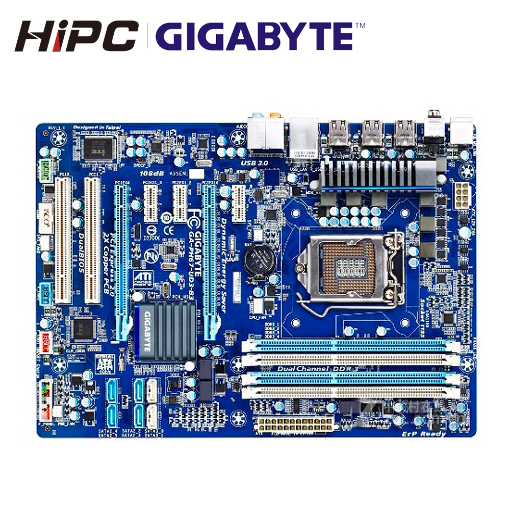 Gigabyte GA-PH67-UD3-B3 Desktop Motherboard PH67-UD3-B3 <font><b>H67</b></font> Socket LGA <font><b>1155</b></font> For Core i7 DDR3 32G ATX Used Mainboard image