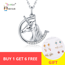 StrollGirl 925 Sterling Silver Cute Animal Pegasus Necklace and Pendant with White CZ Women Fashion Jewelry Gift Free Shipping цена в Москве и Питере