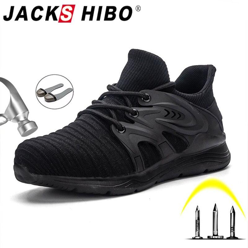 JACKSHIBO All Season Safety Work Shoes For Men Anti-smashing Steel Toe Cap Boots Indestructible Working Shoes Pluse Size 48