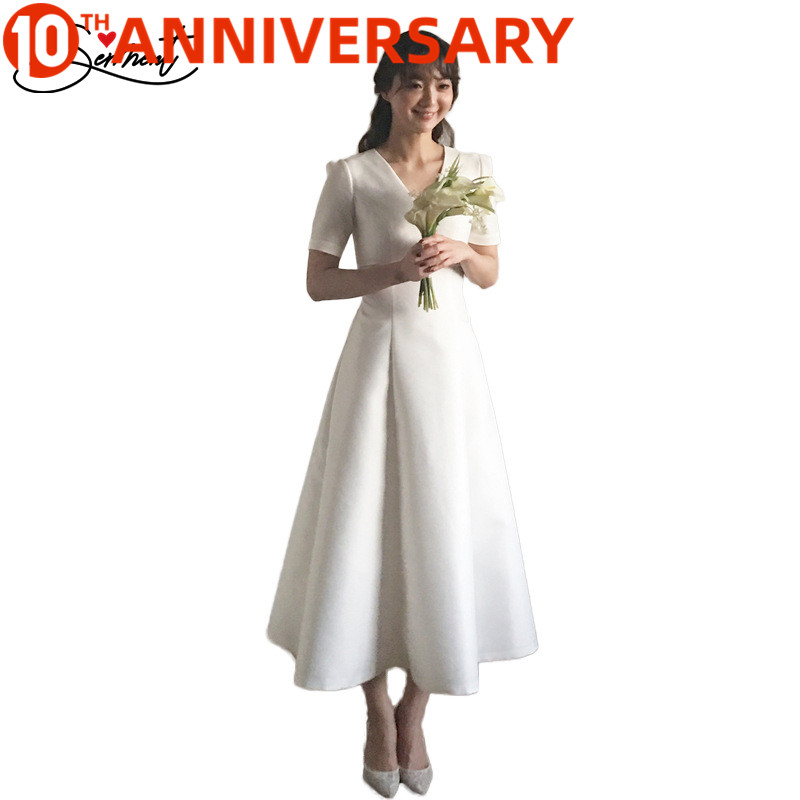 OllyMurs Simple Satin Short Sleeve V-neck Wedding Dress Ankle-Length Lace Up Japanese And Korean Slim Style Wedding Dresses
