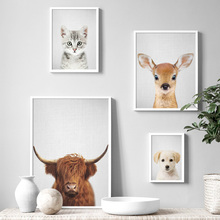 Yak Cat Dog Deer Wolf Baby Animals Nordic Posters And Prints Wall Art Canvas Painting Pictures For Kids Room Decor