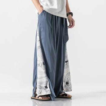 Cotton Linen Wide Leg Pants Mens Chinese Style Patchwork Vintage Man Leisure Trousers 2020 Summer Harem Male Fashion - discount item  43% OFF Pants