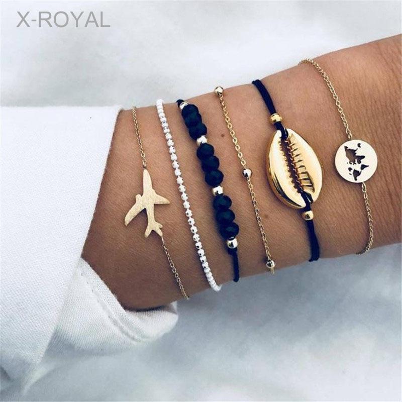 X-ROYAL 6Pcs/set Bohemian Style Vintage Shell Plane Map Bead Charm Fashion Bracelets For Women Boho Trendy Jewelry Set
