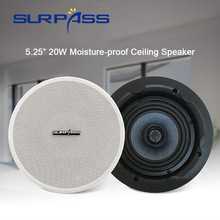 Home Audio PA System Ceiling Speaker 25W HiFi Stereo Sound Subwoofer Background Music Loudspeaker 5.25'' White In Wall Speakers