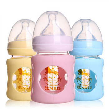 120ml Straight Handle Cute Safety Glass Baby Bottle Baby Baby Environmental Protection Feeding Anti-Fall Breastfeeder mqan 120ml