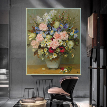 Citon Marcel Dyf Still life with flowers in vase Canvas Art Oil Painting Artwork Poster Picture Wall Decor Home Decoration image