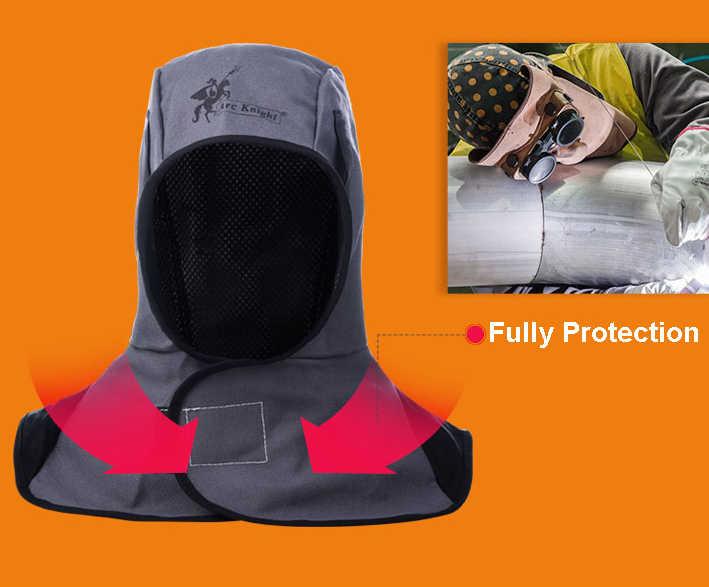 Nero FR Saldatura Cotone Cappelli Lavabile Fuoco Ritardante di Fiamma Casco Comfort Collo Viso Cappuccio di Protezione Cap Saldatore
