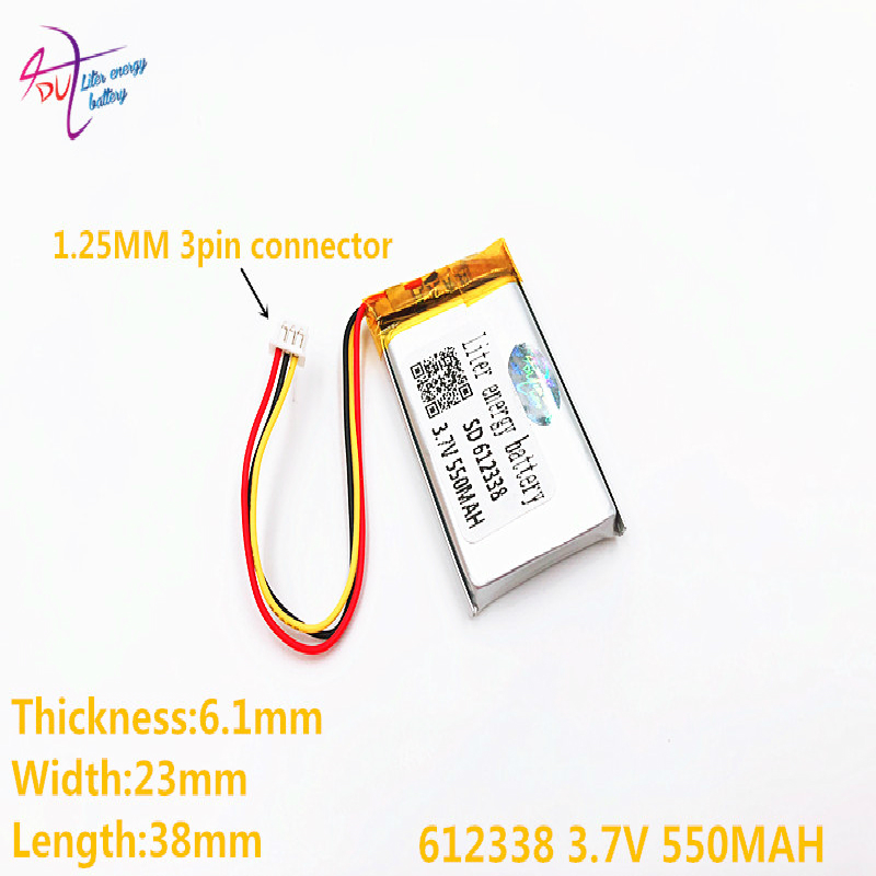 Three threads Best Battery Brand 3.7v 550mah <font><b>612338</b></font> Lithium Polymer Battery With Board For Mp4 Mp5 Gps Digital Products image