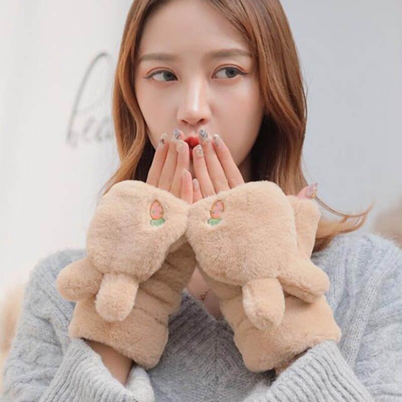 Women's Half Finger Gloves Winter Warm Soft Rabbit Plush Fingerless Embroidery Gloves Thickened Flip Rabbit Ears Gloves E63