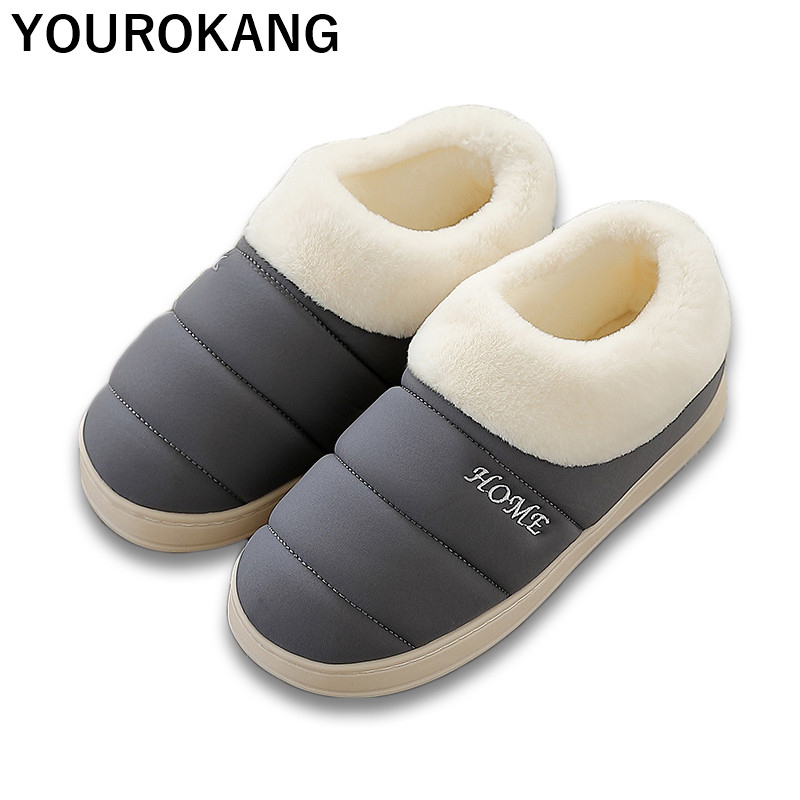 Men Home Slippers Winter Warm Plush Shoes Indoor Bedroom Floor Flats Soft Furry Couple Footwear For Lovers Plus Size Hot Sale