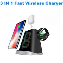 3 IN 1 Qi Wireless Charger Pad For Apple Watch 2 3 4 AirPods Fast Charging Dock Station For iphone XR XS Max X 8 Samsung S10 S9 3 in 1 qi wireless charger pad for apple watch 2 3 4 airpods fast charging dock station for iphone xr xs max x 8 samsung s10 s9