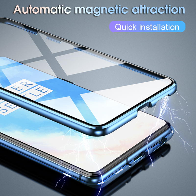 Double Sided Tempered Glass Case For Oneplus 7t Pro Case Metal Magnetic Case For oneplus-7t-pro 360 Full Protective Case Cover
