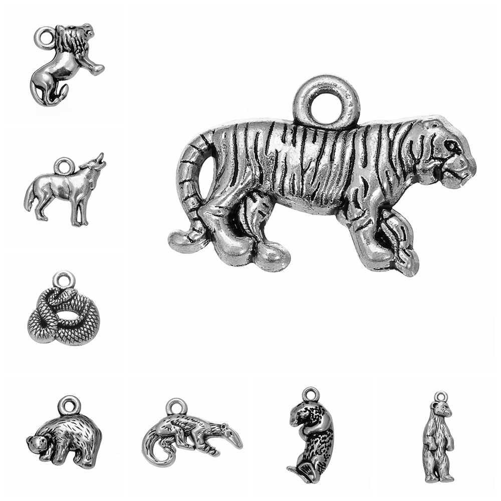 10 pçs/lote Carnívoro Animal Urso Polar Tigre Leão Lobo Cobra Encantos Para Fazer Jóias de Prata Antigo Banhado Acessórios