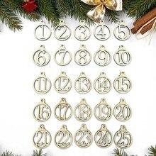 Behogar 1-25 Vintage madera Navidad cuenta atrás Adviento calendario números colgantes DIY regalo etiquetas decoración colgante para fiesta de boda