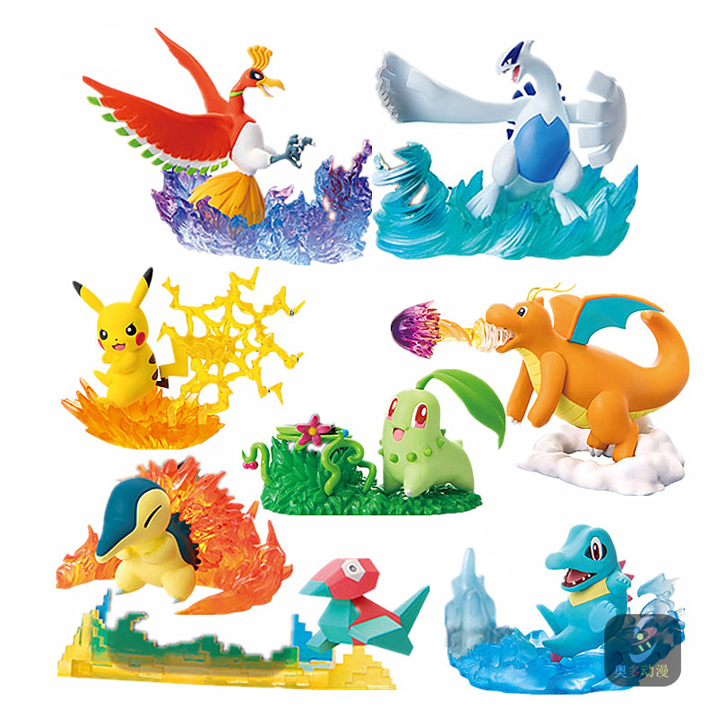 Takara 8 Stks/set Pokemon Pocket Monster Pikachu Ho Oh Lugia Figuur Elf Pop Scènes Charizard Action Figure Kinderen Gift speelgoed|null|   -