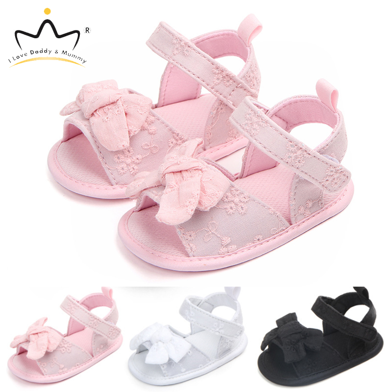Summer New Baby Girl Sandals Cute Lace Floral Bows Toddler Girls Shoes Solid Color Soft Cotton Soled Baby Sandals Todder Shoes