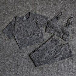 Комплекты для йоги, однотонная бесшовная Женская одежда для тренажерного зала, спортивная одежда, комплект одежды для фитнеса, спортивные Л...