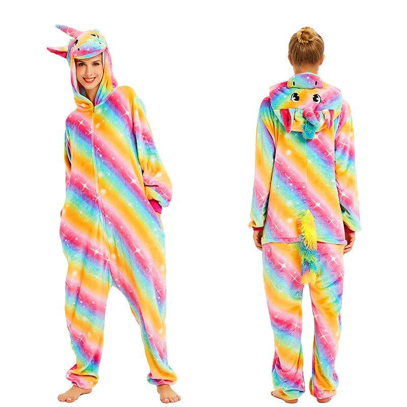 Image 3 - Women Kigurumi Unicorn Pajamas Sets Flannel Cute Animal Pajamas Kids Women Winter Stitch Tiger Nightie Pyjama Sleepwear Homewear-in Pajama Sets from Underwear & Sleepwears