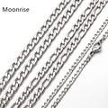 Цепочка Figaro Link 50 см 60 см 70 см, классическое ожерелье из нержавеющей стали 3-6 мм, серебристая цепочка для мужчин и женщин