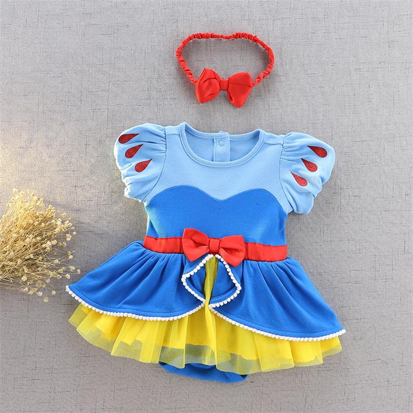 Baby Girl Cartoon Bodysuit With Headband First Birthday Snow White Mermaid Cinderella Tulle Overall Baby Clothes E932