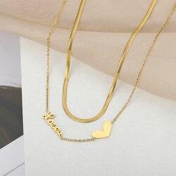 2 couches coeur forme colliers pour femmes or chaîne breloque en acier inoxydable pendentif breloque collier mode mariage fête bijoux