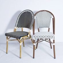 Chairs-Sets Rattan Bistro Dining Bamboo Garden Aluminum Outdoor Patio Wicker Metal French