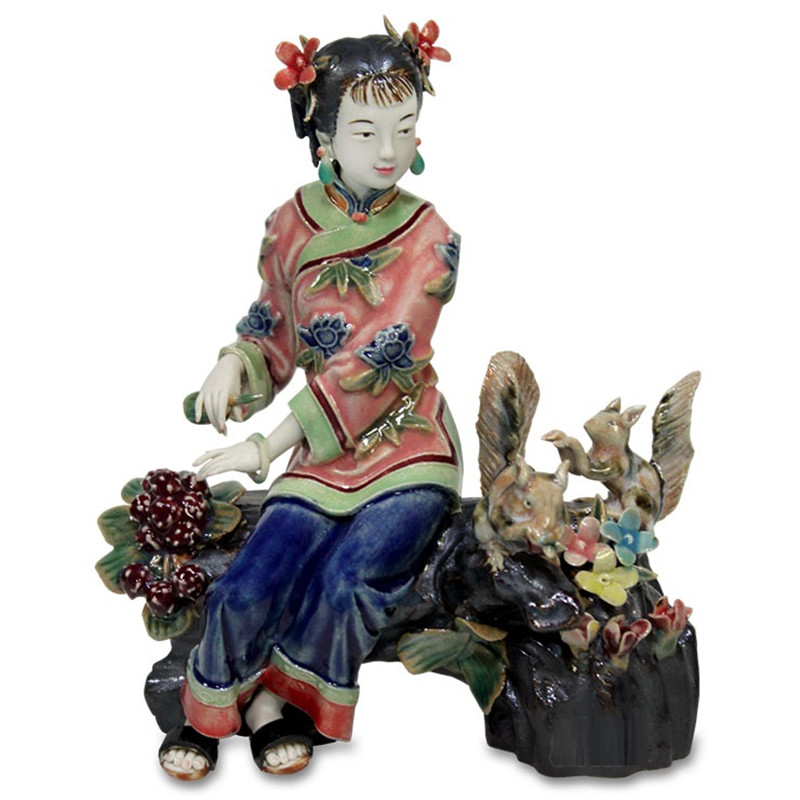 Chinese Antique Porcelain Beautiful Women Squirrel Figurines Dolls Sculptures Vintage Female Collectible Statue Home Decor R2388