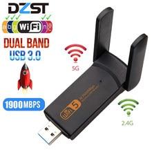 Dzlst adaptador wifi banda dupla, 1900m 2.4g 5g wifi usb 3.0 taxa de driver lan ethernet 1200m antena wifi sem fio da placa da rede