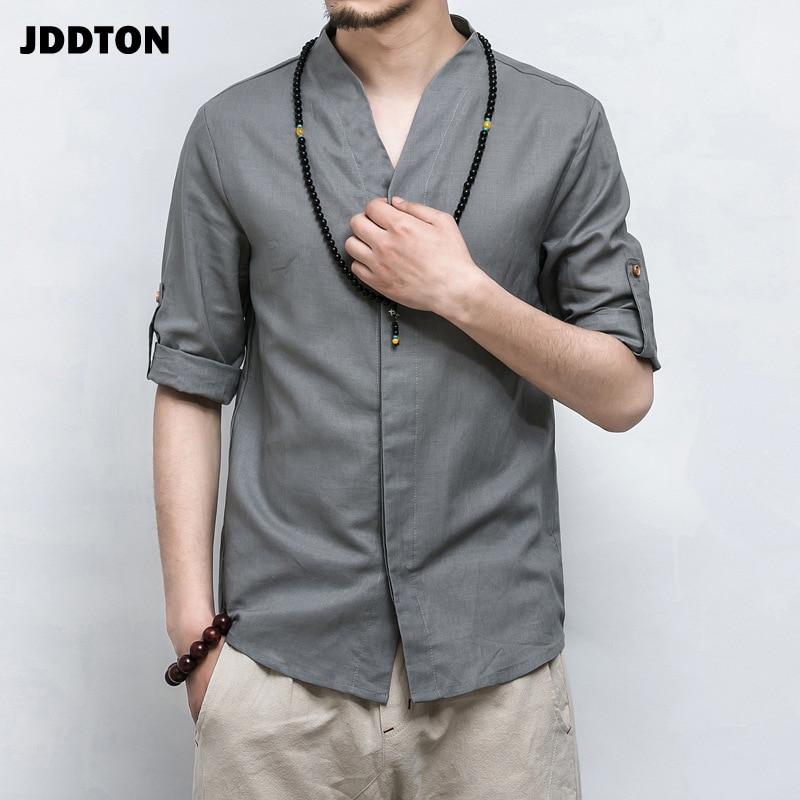 JDDTON New Summer Men Linen Kimono Three Quarter Sleeve Cardigan Outerwear Coats Streetwear V-neck Shirt Short Male Casual JE013