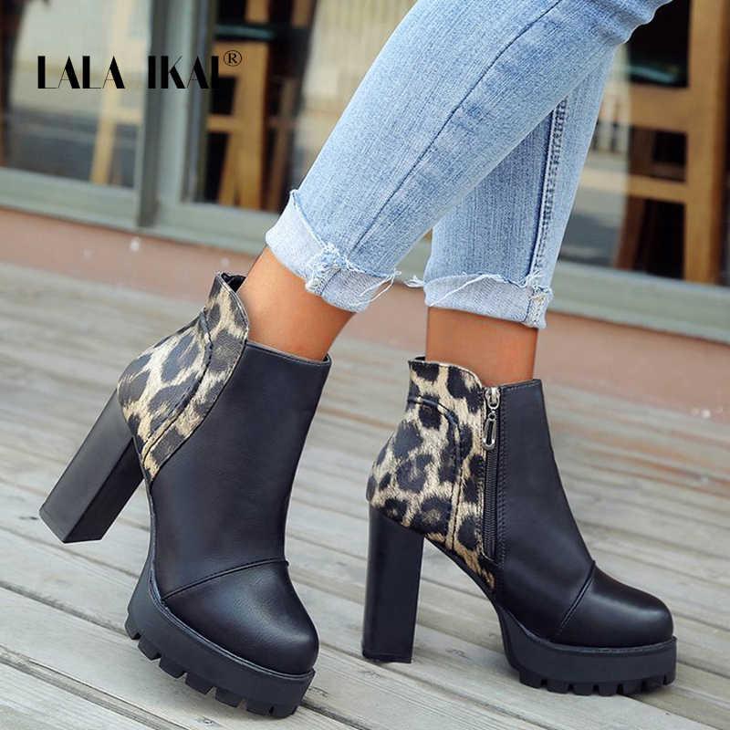LALA IKAI 2019 yeni ayakkabılar kadınlar kış PU deri yarım çizmeler su geçirmez fermuar yüksek topuklu yuvarlak ayak bayanlar ayakkabı XWC6499-4