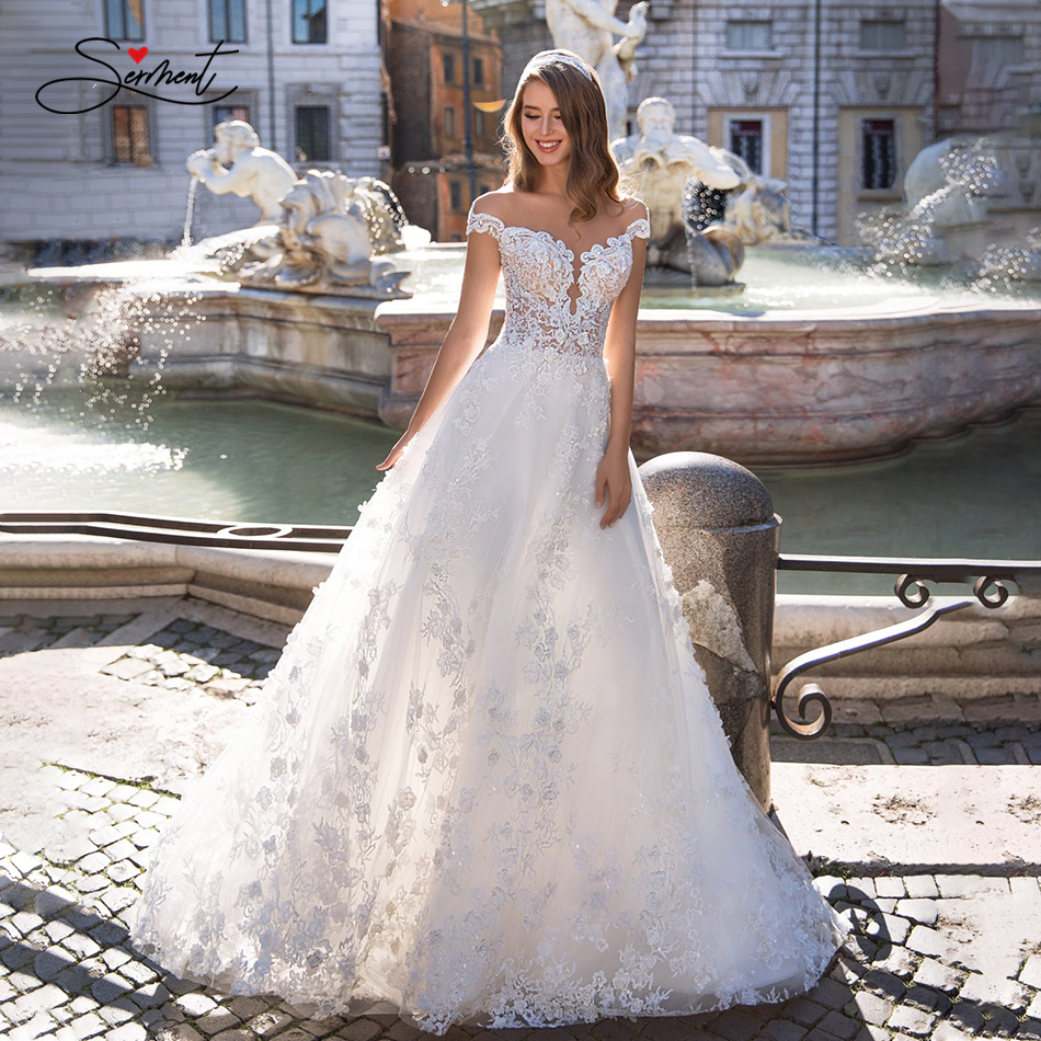 OLLYMURS 2020 Luxury Wedding Dress V-neck Card Shoulder Wedding Dress Sexy Backless 3D Decal Bride Support Tailor-made
