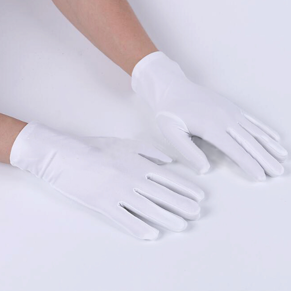 1Pair Black White Gloves Women Men Etiquette Stretch Gloves New Dance Tight Jewelry Gloves Wrist Drive Waiter Full Finger Gloves