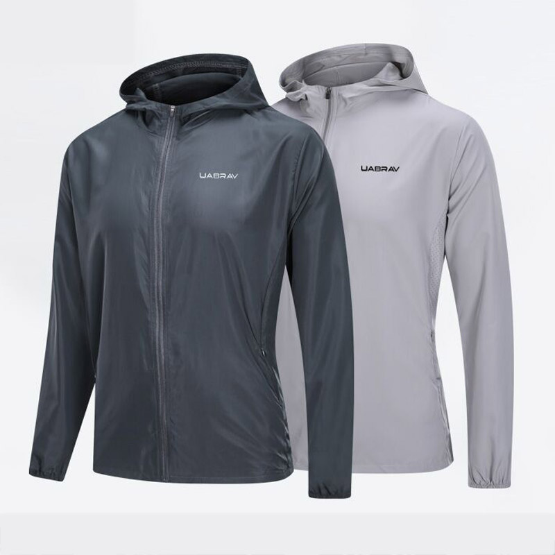 Spring Autumn Thin Sports Jacket Men Outdoor Casual Running Hooded Fitness Jacket Long-sleeved Men's Workout Clothes Plus Size